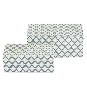 Bone Inlay White & Grey Hex Pattern Box - 2 sizes