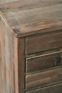 Reclaimed Pine Chest of 12 Map Drawers - Cup Handles