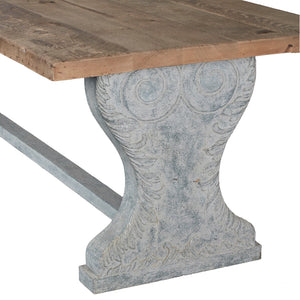 Solid Pine Top 3m Dining Table - Carved Blue Pedestals