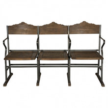 Load image into Gallery viewer, Industrial 149cm Bench Of 3 Folding Cinema Chairs - Metal Frame