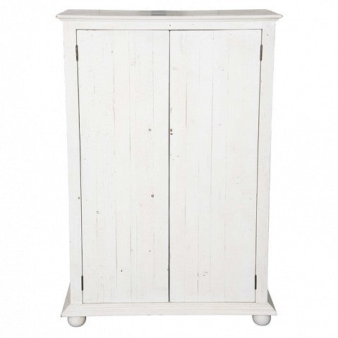 Small 2 Door Rustic Cabinet - Painted Distressed White