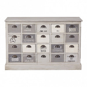 Grey and White Painted Chest of 20 Drawers - Cup Handle
