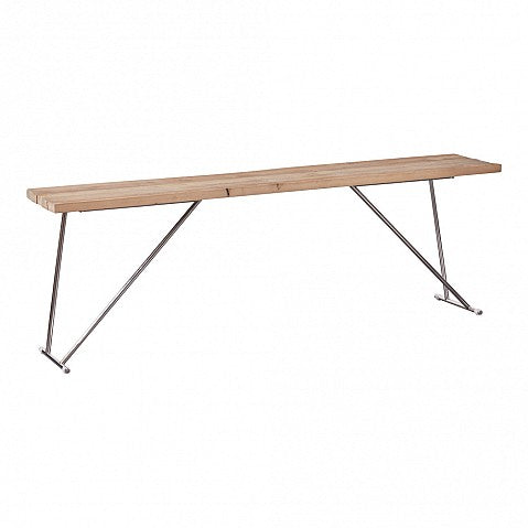 Long Contemporary Style Pine Console Table - Chrome Legs