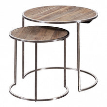 Load image into Gallery viewer, Pair of Chrome Leg Round Nesting Tables - Reclaimed Elm Top