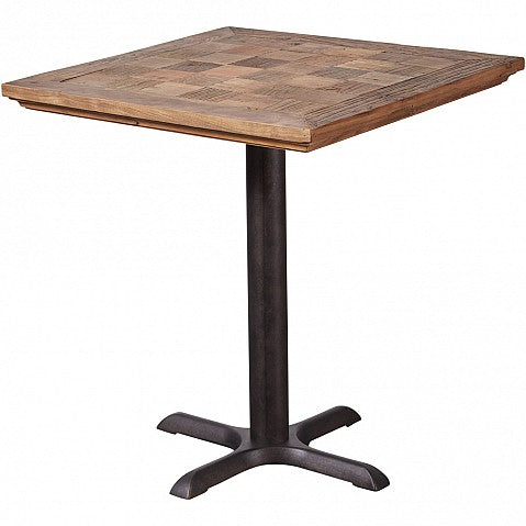 Industrial Reclaimed Elm Top Square Table - Metal Legs