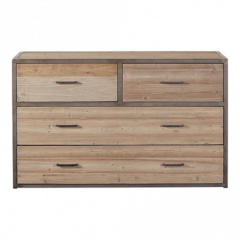 Industrial Style Rustic Pine Chest of 4 Drawers - Metal Frame