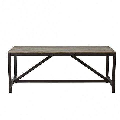 Pine Top Metal Leg 8 Seat Dining Table - Rectangular
