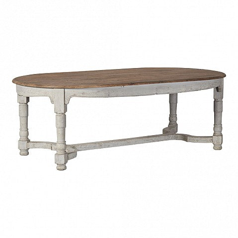 French Grey Painted Base Pine Top 8 Seat Dining Table - Oval