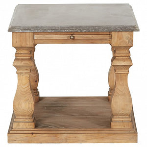Reclaimed Pine Stone Top Square Side Table - 1 Shelf