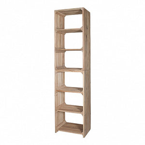 Narrow Reclaimed Pine Closed Shelving Unit - 6 Shelves