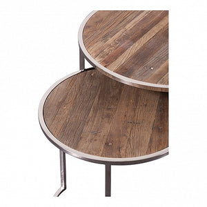 Pair of Chrome Leg Round Nesting Tables - Reclaimed Elm Top