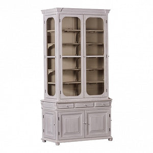 Tall French Style Display Cabinet - Painted Distressed White