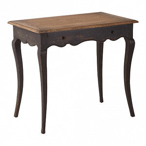 French Style Louis Leg 1 Drawer Side Table - Painted Black