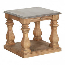 Load image into Gallery viewer, Reclaimed Pine Stone Top Square Side Table - 1 Shelf