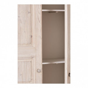 Narrow White Washed Pine Cabinet - 2 Solid Doors