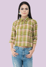 Load image into Gallery viewer, Kelly top collar shirt crop top from notsosober.com