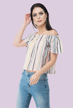 Load image into Gallery viewer, Neutral blush off shoulder stripes crop tops from not so sober