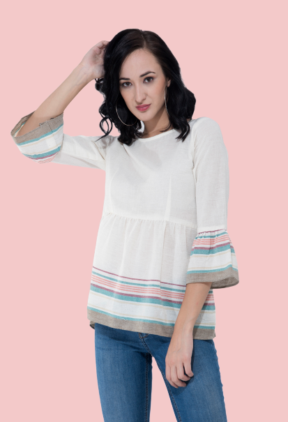 white mania three-fourth sleeve  top online from not so sober