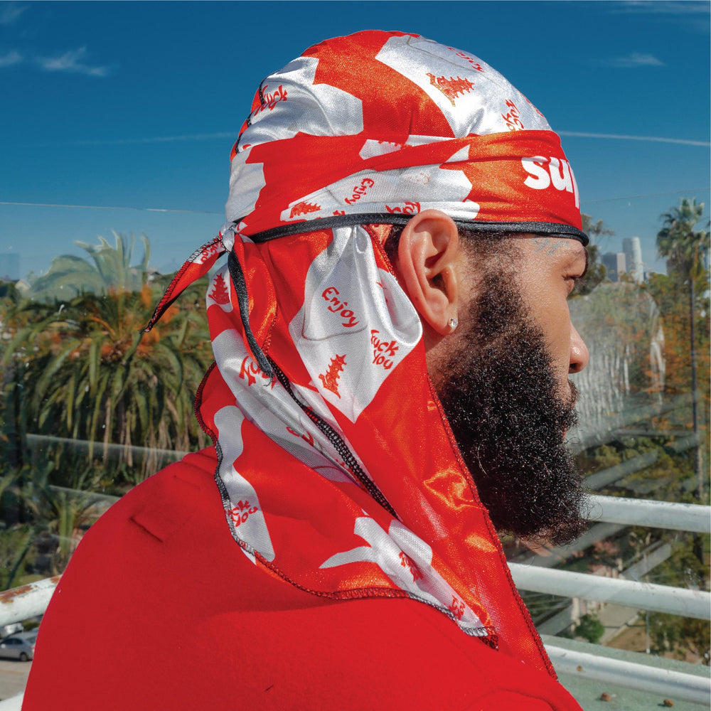 Superstitch Red On Rice superag - premium quality silky durag