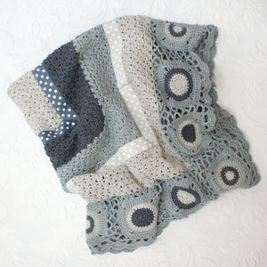 Grey & Cream Hand Crocheted Blanket