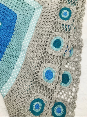 Aqua and Grey Hand Crocheted Blanket