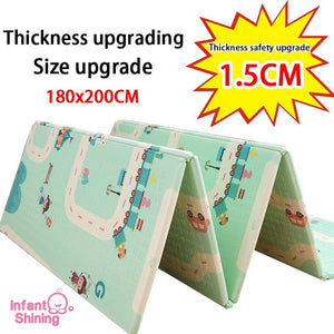 Infant Shining Thickened 1.5cm Play Mat 200*180cm Foldable Cartoon Baby Playmat