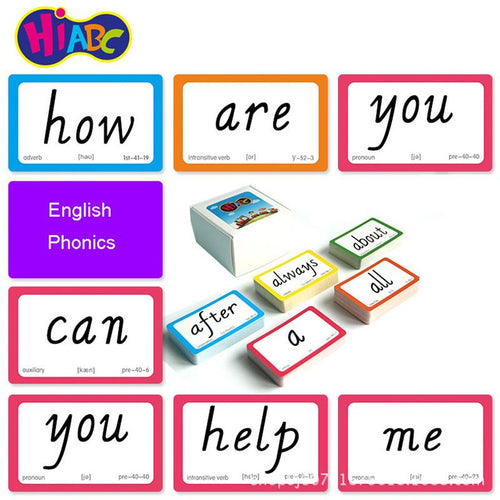 221PCS English Sight Words Card Phonics Words Flashcards Learning Educational Toys