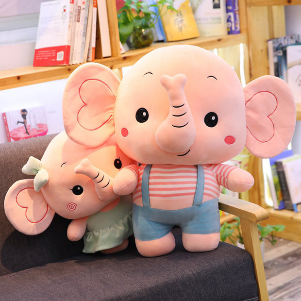 cartoon print design lovely couple elephant figurine lavish toy - FLORESKYLER