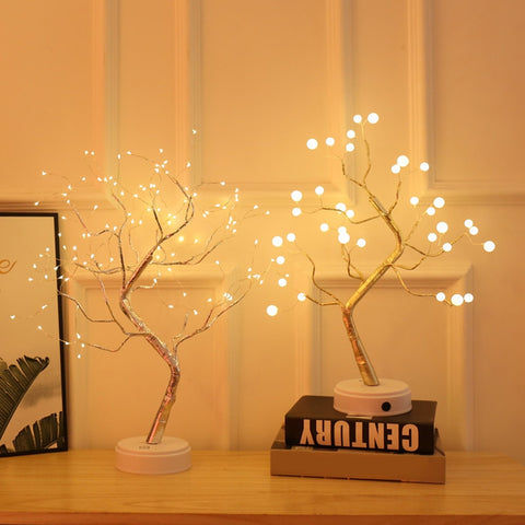 Night Light Home Decoration Bonsai Style Party Cherry Tree Shape LED Light DIY Firework Christmas Gift Plants Switch Copper - FLORESKYLER