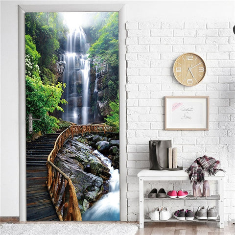 Creative 3D Door Sticker 95x215cm/Custom Size Self Adhesive Wallpaper On the Doors DIY Renovation Waterproof Poster For Bedroom - FLORESKYLER