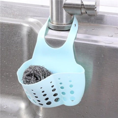 Sink Shelf Soap Sponge Drain Rack Silicone Storage Basket Bag Faucet Holder Adjustable Bathroom Holder Sink Kitchen Accessorie - FLORESKYLER