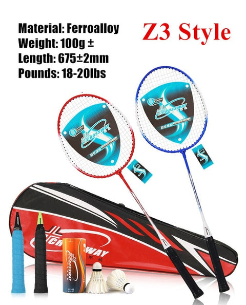 2pcs Professional Badminton Rackets Set Family Double Badminton Game Racquet Light Weight Playing Trainning Badminton Raquette - FLORESKYLER