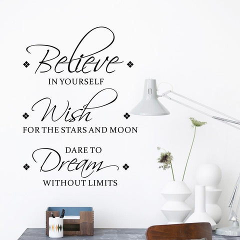Believe Wish Dream English inspirational wall stickers living room bedroom decoration mural removable stickers home wallpaper - FLORESKYLER