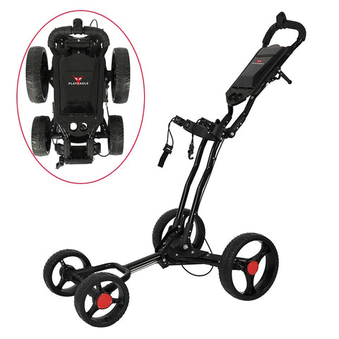 4 Wheels Golf Push Cart Easy Folding Black Aluminum alloy With Umbrella holder PLAYEAGLE Golf Trolley 4-wheel-pull cart - FLORESKYLER