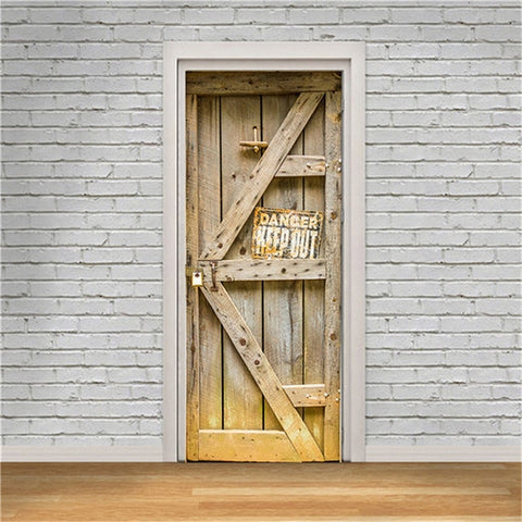 3D Door Decoration Wallpaper Modern Design Door Sticker Self-adhesive Waterproof Poster Home Door Renew Mural Decal deur sticker - FLORESKYLER