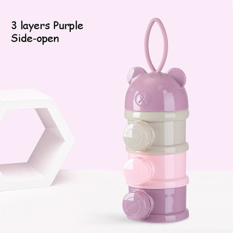 3 / 4 layers Bear Style Portable Baby Food Storage Box Essential Cereal Cartoon Infant Milk Powder Box Toddle Snacks Container - FLORESKYLER