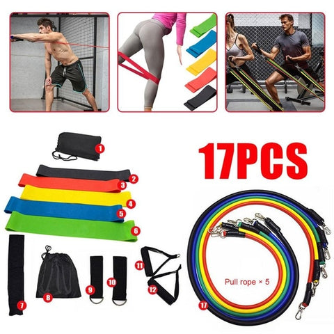 17 Pcs/Set Latex Resistance Bands Crossfit Training Exercise Yoga Tubes Pull Rope,Rubber Expander Elastic Bands Fitness with Bag - FLORESKYLER