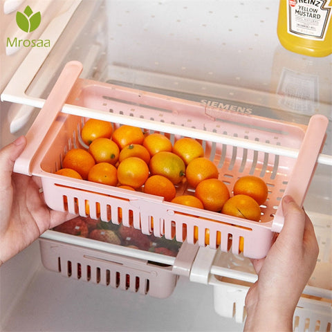 Kitchen Organizer Adjustable Kitchen Refrigerator Storage Rack Fridge Freezer Shelf Holder Pull-out Drawer Organiser Space Saver - FLORESKYLER