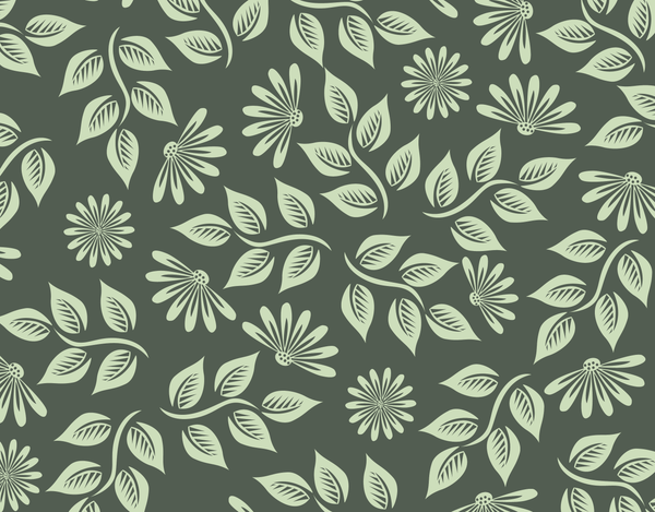 Pleated Floral (Green) Pattern - Maskcott