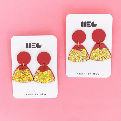 RED & GOLD GLITTER DIP CLAY EARRINGS