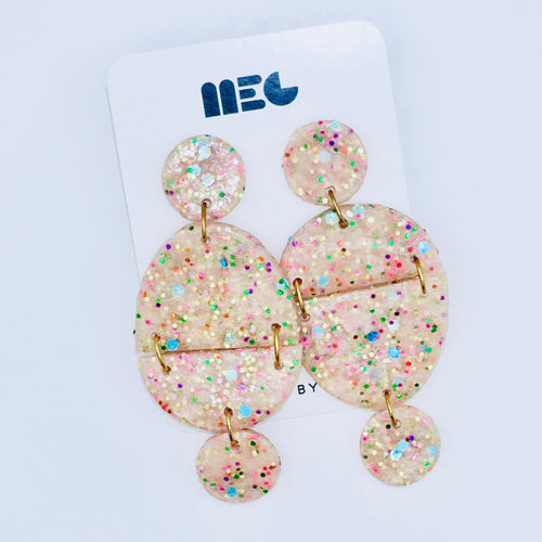 RAINBOW GLITTER BIRTHDAY QUEEN EARRINGS