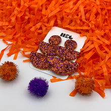 Load image into Gallery viewer, CLEMSON GLITTER ALLIE  CLAY EARRINGS
