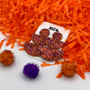 CLEMSON GLITTER ALLIE  CLAY EARRINGS