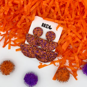 CLEMSON GLITTER ALLIE EARRINGS