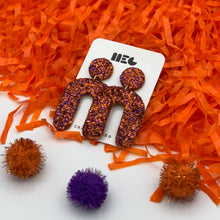 Load image into Gallery viewer, CLEMSON GLITTER U CLAY EARRINGS
