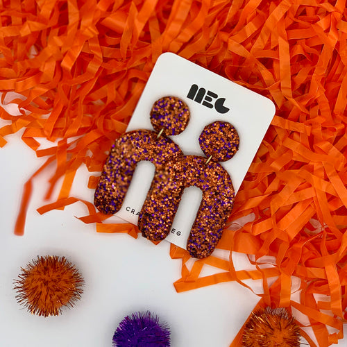 CLEMSON GLITTER U EARRINGS