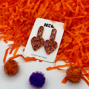 CLEMSON GLITTER HEART CLAY EARRINGS