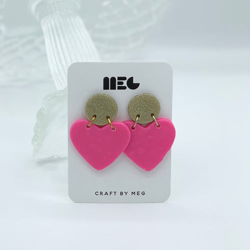 COLOR BLOCK HEART CLAY EARRINGS