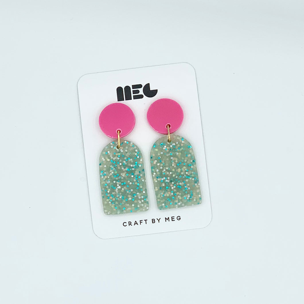HOT PINK TURQUOISE GLITTER RAE CLAY EARRINGS