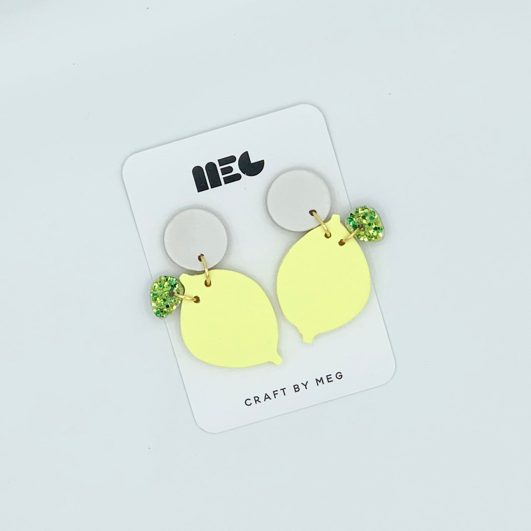 LEMON YELLOW CLAY EARRINGS WITH GLITTER LEAF